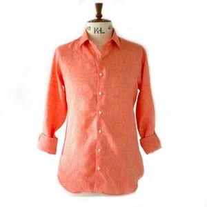 Theory Linen Salmon Coral Button Down Shirt